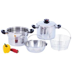 Steam Control™ 8 quart T304 Stainless Steel Stockpot/Spaghetti Cooker with Deep Fry Basket & Steamer Inserts