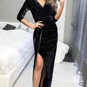 Black Deep V Neck Ruched Side Slit Party Velvet Dress