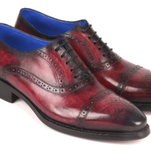 Paul Parkman Bordeaux Burnished Goodyear Welted Cap Toe Oxford Shoes ID#79BRD68