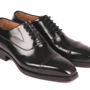 Paul Parkman Goodyear Welted Cap Toe Oxfords Black Polished Leather ID#056BLK84