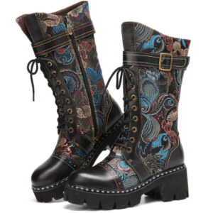 SOCOFY Retro Buckle Strap Decor Flowers Cloth Leather Splicing Comfy Wearable Fashion Mid-calf Boots