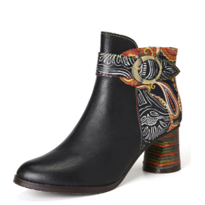 SOCOFY Ankle Buckle Strap Decor Retro Floral Printed Splicing Leather Comfy Chunky Heel Ankle Boots