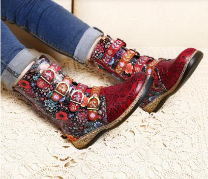 SOCOFY Womens Retro Small Flowers Metal Buckle Zipper Flat Short Boots