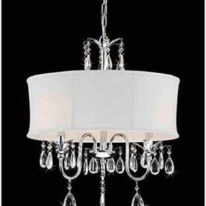 StarSun Depot 3-Light Chrome Crystal Chandelier with Fabric Shade