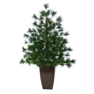 """40"""" Yukon Mixed Pine Artificial Christmas Tree With 213 Bendable Branches In Bronze Metal Planter"""