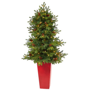 """56"""" Yukon Mountain Fir Artificial Christmas Tree With 100 Clear Lights, Pine Cones And 386 Bendable Branches In Red Tower Planter"""