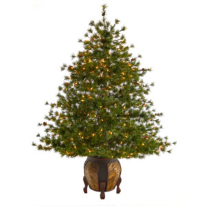5.5' Colorado Mountain Pine Artificial Christmas Tree With 250 Clear Lights, 669 Bendable Branches And Pine Cones In Decorative Planter