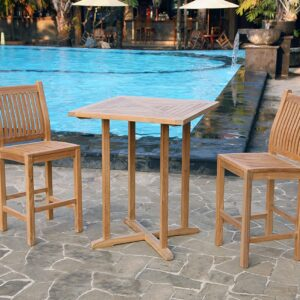 Teak 3Pc Bar Set (2 chairs, 1 table)- by Tortuga Outdoor