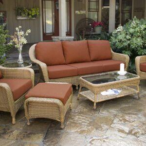 Tortuga Outdoor 6pc Patio Deep Seating Set with Sofa - Mojave Tan Wicker (Brick)