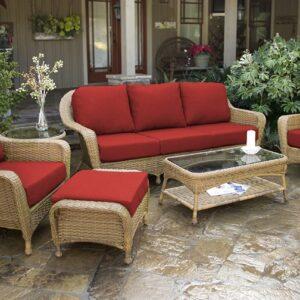 Tortuga Outdoor 6pc Patio Deep Seating Set with Sofa - Mojave Tan Wicker (Cherry)