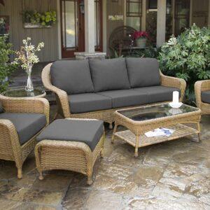 Tortuga Outdoor 6pc Patio Deep Seating Set with Sofa - Mojave Tan Wicker (Graphite)