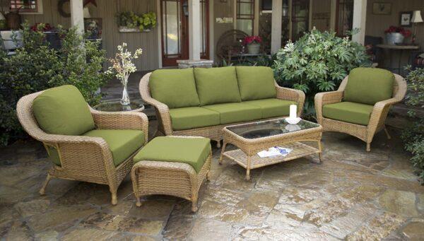 Tortuga Outdoor 6pc Patio Deep Seating Set with Sofa - Mojave Tan Wicker (Kiwi)
