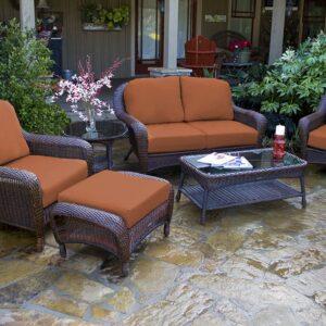 Tortuga Outdoor 6pc Patio Loveseat Deep Seating Set - Java Brown Wicker (Brick)