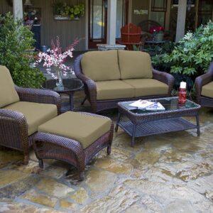 Tortuga Outdoor 6pc Patio Loveseat Deep Seating Set - Java Brown Wicker (Sahara)
