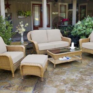 Tortuga Outdoor 6pc Patio Loveseat Deep Seating Set - Sunbrella Fabric - Canvas Canvas (Mojave)
