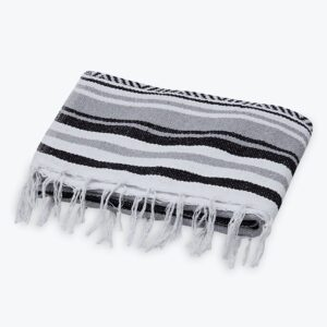 TRADITIONAL MEXICAN WOVEN BLANKET GRAY AND BLACK