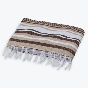 TRADITIONAL MEXICAN WOVEN BLANKET TAN AND BROWN