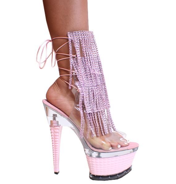 "Karo 3215-Rhinestone Baby Pink 3 Row Fringes 7"" inch Platform Heels"