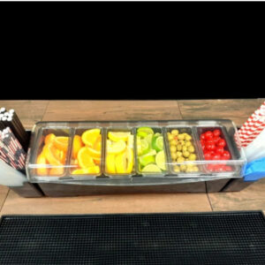 6 Compartment 1-Quart Condiment Fruit Tray with Straw Holders
