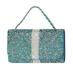 Reiko Jewelry Rhinestone Purse Wallet Case Pouch In Blue