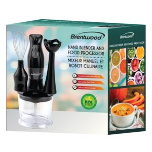 Brentwood BTWHB38BK 2-Speed Hand Blender and Food Processor with Balloon Whisk (Black)