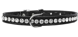 Beverly Style Rhinestone Designer Croc Dog Collar Black