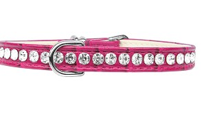 Beverly Style Rhinestone Designer Croc Dog Collar Bright Pink