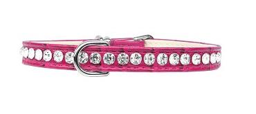 Beverly Style Rhinestone Designer Croc Dog Collar Bright Pink