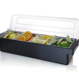 Black Condiment Fruit Tray Holder with Ice Compartment