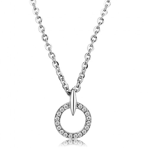 """Women's Stainless Steel Clear Cubic Zirconia 16"""" INCH Chain Pendant CH0D-09683"""