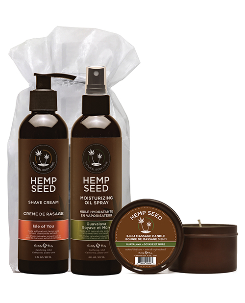 Earthly Body Summer Care Moisturizing Kit - Guavalava Oil Spray, Candle, Isle of You Shave Cream