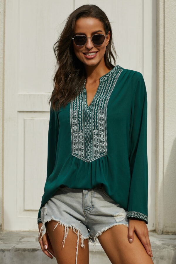 Green Long Sleeves Front Embroidery Blouse