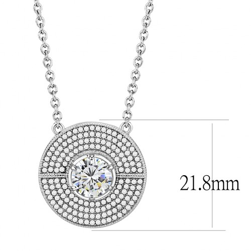 """Women's Round Clear Cubic Zirconia Stainless Steel 16"""" inch Necklace NE0D-09321"""