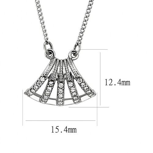 """Unisex Clear Cubic Zirconia Stainless Steel 16"""" inch Chain Pendant NE0D-09364"""