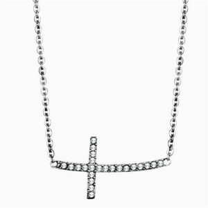 """Women's Clear Synthetic Crystal Stainless Steel 16"""" INCH Necklace NE0T-09393"""