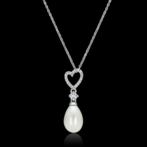 """Women's White Synthetic Pearl 925 Sterling Silver 16"""" INCH Necklace Women's White Synthetic Pearl 925 Sterling Silver 16"""" INCH Necklace NE0T-09657"""