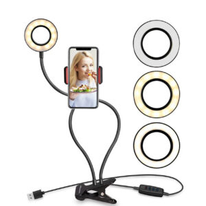 Multi-Functional Cell Phone Holder With 3 Colors Lighting Modes Selfie Ring Light