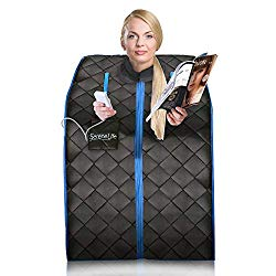 SereneLife Portable Infrared Home Spa   One Person Sauna   with Heating Foot Pad and Portable Chair