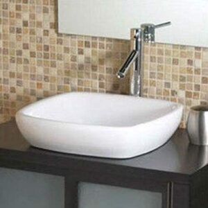 StarSun Depot Modern Classic Style Semi- Recessed Square White Ceramic Vessel Bathroom Sink