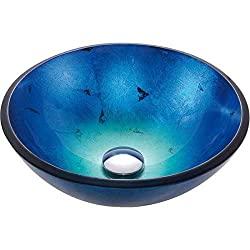 StarSun Depot Round Blue Tempered Glass Vessel Bathroom Sink