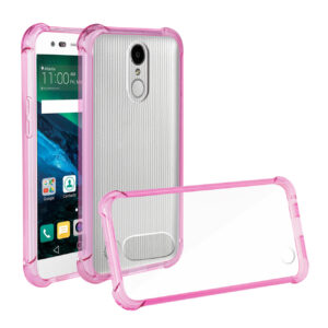 Reiko LG Fortune/ Phoenix 3/ Aristo Clear Bumper Case With Air Cushion Protection In Clear Hot Pink
