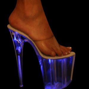 "KARO 0704 Blue Light Platform Clear 8"" inch Heels"