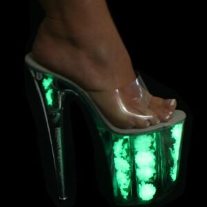 "Karo 0704-F Glow Clear Platform Glow in the Dark 8"" inch Heels"
