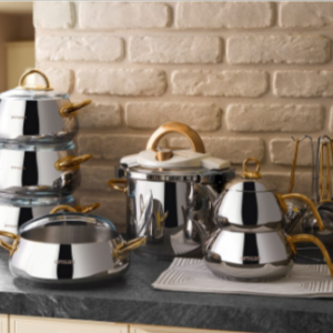 17 Pieces 18/10 Real Gold Steel Most Fashionable Real Cookware Cooking Pots, Pressure Cooker, Teapot, coffee Pot, Cookware Set