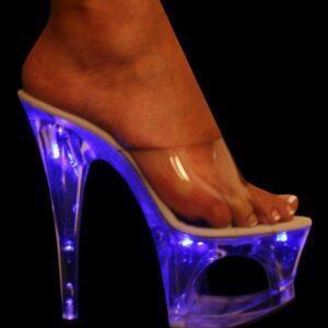 "KARO 3111 BLUE LIGHT ZOOM CLEAR PLATFORM 7"" INCH HEELS"