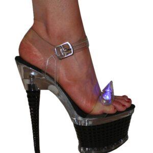 "Karo 3258 Clear with Blue Light Spikes Platform 7"" inch heels Black"