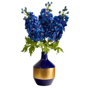 "23"" Delphinium Artificial Arrangement In Blue And Gold Designer Vase A1495"