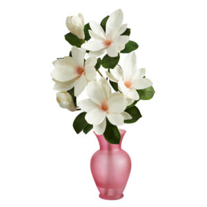 "24"" Japanese Magnolia Artificial Arrangement In Rose Colored Vase A1496"