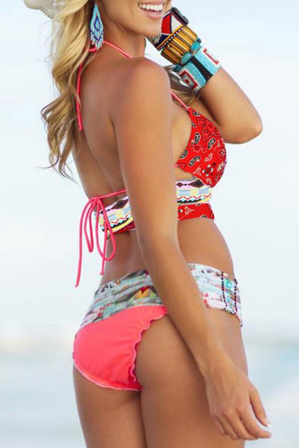 Multicolor Bohemian Tropical Print Bikini