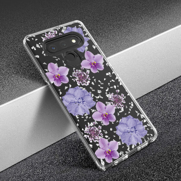 Pressed dried flower Design Phone case for LG Stylo 6 in Purple